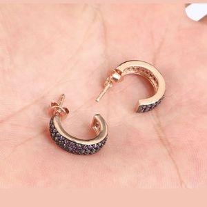 Rose gold half circle ruby earrings